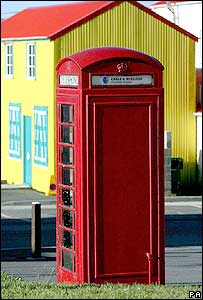 Red telephone box on the Falklands