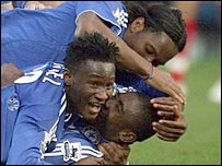 Salomon Kalou is mobbed after scoring a late winner