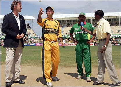 Australia captain Ricky Ponting conducts the toss