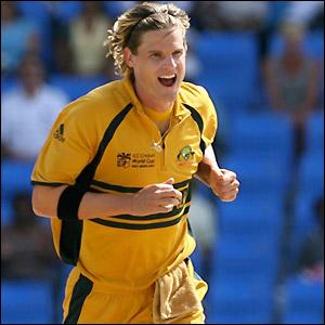 Bracken celebrates his early wicket