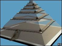 Diseño tridimensional de la teoría de Houdin sobre la Gran Pirámide de Egipto.