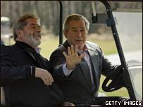 Presidentes de EE.UU., George W. Bush y de Brasil, Luis Inazio Lula da Silva
