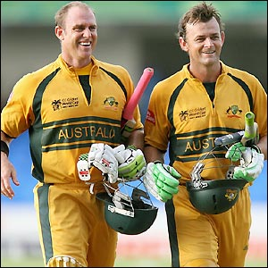 Hayden finishes with 47 not out and Gilchrist 59 not out