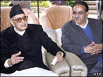 Nepalese Prime Minister GP Koirala (left) and Maoist chairman Prachanda