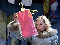 A shopper in a market in Vladivostok on Russia's Pacific coast