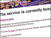 The busy message on the Glastonbury ticket website