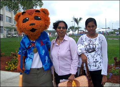 Cricket fans meet the World Cup mascot in Antigua