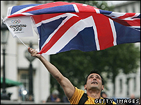 Man celebrating London's Olympic success