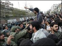 Iranian students protesting in Tehran
