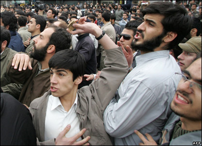 Iranian students at a protest in Tehran
