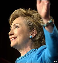 Democratic presidential hopeful Senator Hillary Clinton
