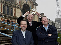 PDC chairman Barry Hearn, Phil Taylor and Raymond van Barneveld at Alexandra Palace
