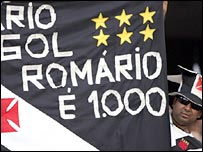 A Romario banner at a Vasco de Gama match