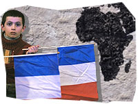 Child with a French flag, and a map of Africa in the background.