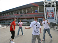 Liverpool and West Ham fans have a kick-about before the 2006 FA Cup final