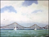 Artist's impression of a proposed suspension bridge linking England and France,