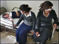 Injured girls in hospital after a bomb blast in Kirkuk