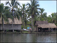 View of typical homes on island near Gizo. Picture from Louise Hunt