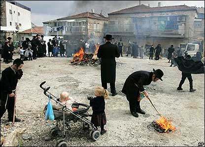 Ultra-Orthodox Jews in Jerusalem burn bread and other leavened food in preparation for the Passover holiday.