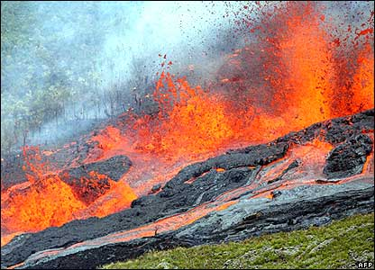 Aerial view of lava from volcano on Indian Ocean island of Reunion.