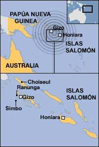 Mapa del area afectada por el seísmo