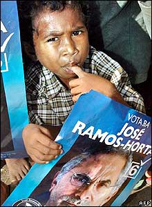 East Timor boy with poster of election candidate Jose Ramos Horta.