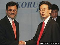 Karan Bhatia, US deputy trade representative (left) and Korean trade minister Kim Hyon-Chong
