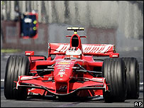 Kimi Raikkonen's Ferrari on its way to victory in the Australian Grand Prix