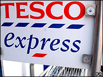 A Tesco Express sign