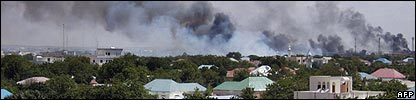 Smoke rises above the Somali capital, Mogadishu