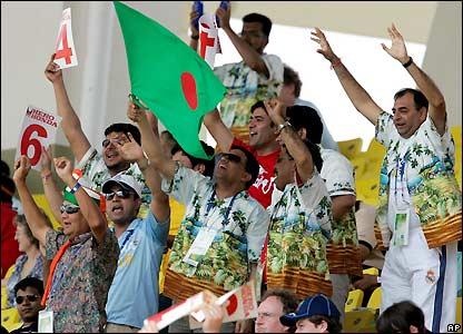 Bangladesh fans celebrate a boundary