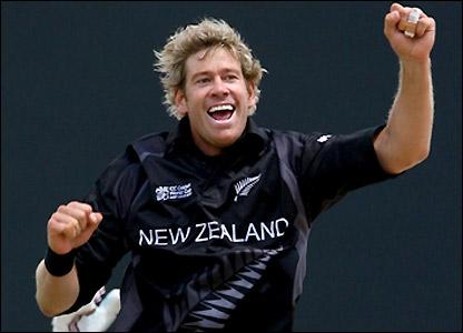 Oram celebrates the first wicket