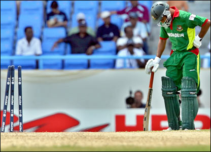 Bashar shows his disappointment at being run out