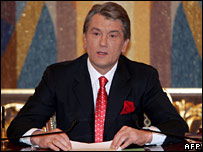 Ukrainian President Viktor Yushchenko addresses the nation
