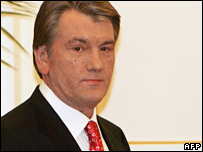 Mr Yushchenko in Kiev on 2 April 