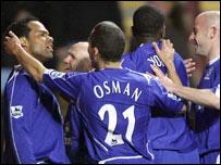 Everton celebrate Joleon Lescott's goal