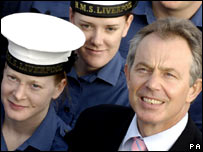 Prime Minister Tony Blair during a visit to HMS Liverpool at Rosyth Dock Yard, Fife, Scotland, on the anniversary of the Falklands war.