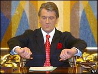 Президент Украины Виктор Ющенко во время обращения к народу