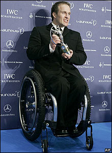 Germany's Martin Braxenthaler poses with his trophy after winning the Laureus World Sportsperson of the Year with a Disability award