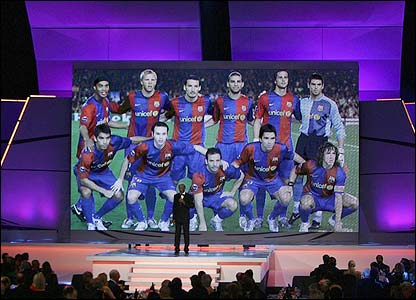 Actor Morgan Freeman reveals Spanish giants FC Barcelona as the recipients of the Laureus Spirit of Sport award
