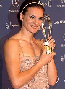 Russia's record-breaking pole vaulter Yelena Isinbayeva wins the award for World Sportswoman of the Year
