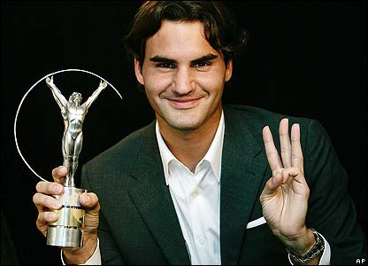 World number one Roger Federer is named World Sportsman of the Year for the third year in a row