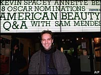 Sam Mendes outside a cinema in 2000