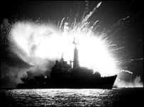 HMS Antelope exploding