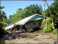 Damaged house at Gizo