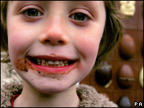 A seven-year-old after tasting the world's first edible chocolate billboard