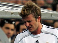 David Beckham limps off after picking up the injury in a match against Getafe