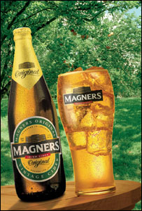 Magners bottle and glass