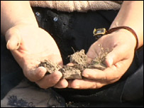 Adriana Ortega Torres holding lake dirt