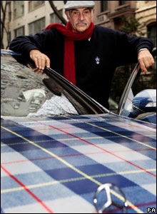 Sean Connery with tartan Mercedes